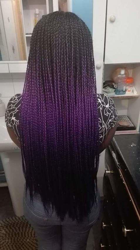 Box braids fines violet